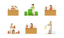 People Of Creative Professions Set, Ceramist, Hat Designer, Watchmaker, Gardener, Glassblower Cartoon Vector Illustration