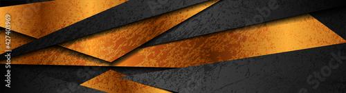 Bronze and black grunge geometric corporate background. Vector banner design - fototapety na wymiar