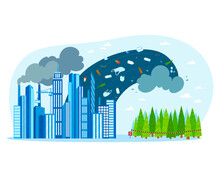 Pollution Plant Ecology, Environment Hazard, Factory Toxic Menace Emissions Dirty, Design, Flat Style Vector Illustration.