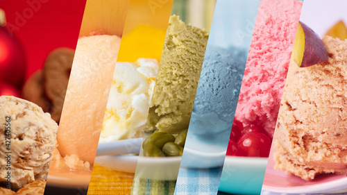 Fotografie, Obraz Colorful variety of ice cream and ice cream flavors as a rainbow