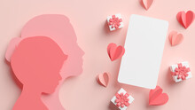 Social Media Post Mockup With Mom And Son Papercut Silhouettes, Hearts And Gifts For Mother's Day In 3D Rendering