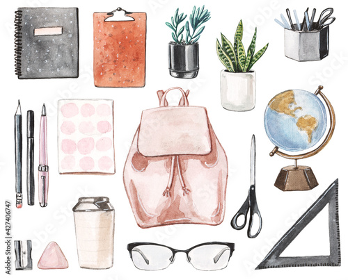 Fototapeta Hand drawn watercolor set of the school stationeries with notebooks, pens and pencils, scissors, glasses, eraser, the glob, backpack, plants in pots and more. obraz