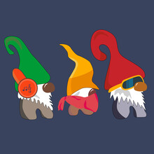 Three Cute Gnomes Are Closing Eyes,mouth,ears, Like 3 Wise Monkeys