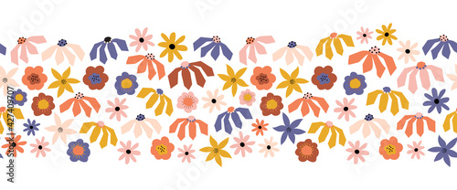 Seamless repeating Flower border blue purple orange yellow pink. Cute floral horizontal kids pattern Scandinavian style abstract paper cut flowers for summer autumn decor, fabric trim, footer, banner.