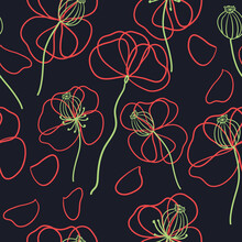 Contour Drawing Of Blooming Poppies And Poppy Seed Pods On A Dark Background. Seamless Pattern.