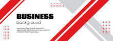 Abstract Business Background. Minimal Long Banner Template With Red Lines. For Social Media Advertisement, Facebook Cover Design