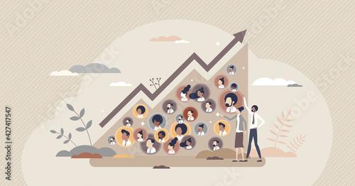Fotografia, Obraz Community growth and social labor count increase graph tiny person concept