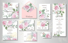 Wedding Invitation With Realistic Bouquets Rose Flower. Vector Illustration. EPS 10