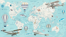 Old Geography Travel Map With Regional Animals And Aircrafts