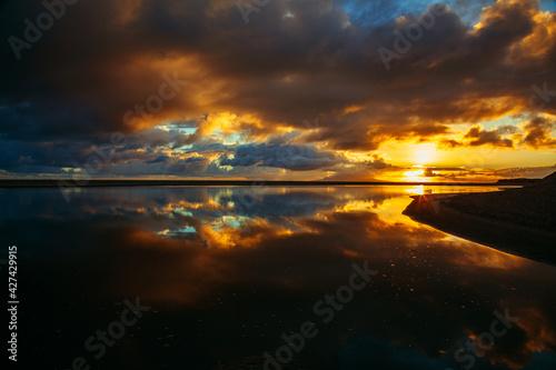 Fototapeta Wschód słońca lustrzane odbicie obraz