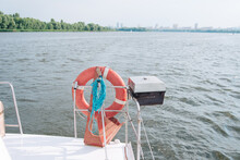 Lifebuoy On The Yacht, The Back Of The Yacht. Sunny Day, On The Water.