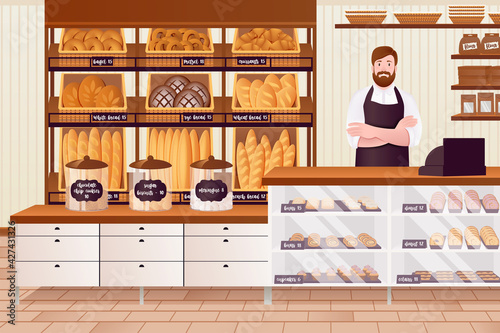 Obraz na plátně Cartoon Color Character People Man and Bakery Interior Concept