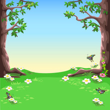 Vector Fairy Tale Landscape Of A Forest Glade With Large Trees, Blooming Meadow And Butterflies.