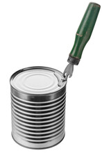 Old Can Opener With Wooden Handle Opens Aluminum Can Lid On White Background