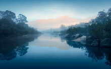 Early Morning Sunrise On The Snowy River, Australia