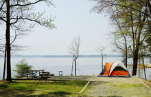 A Tent At A Waterfront Campsite Of Jordan Lake State Park Campground Near Raleigh North Carolina