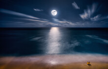 Full Moon Rising Over Cancun Mexico