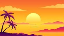 Colorful Ocean Island Sunset Vector Illustration