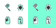 Set Fireflies Bugs In A Jar, Butterfly Net, Spider And Icon. Vector