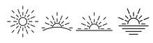 Sun Icons Set - Vector Thin Line Sunshine And Sun Burst Symbols Or Logo Elements