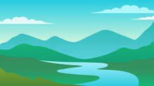 Green Hills And Blue River Landscape Illustration