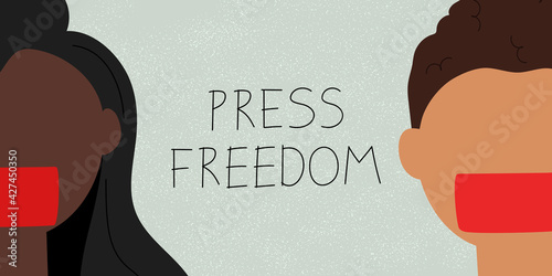 Press freedom concept. Web banner with young journalists and text Press Freedom. Idea of political demonstration. Flat vector illustration - fototapety na wymiar