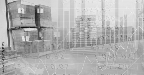 Financial data and statistics processing over warehouse background, finance and delivery concept