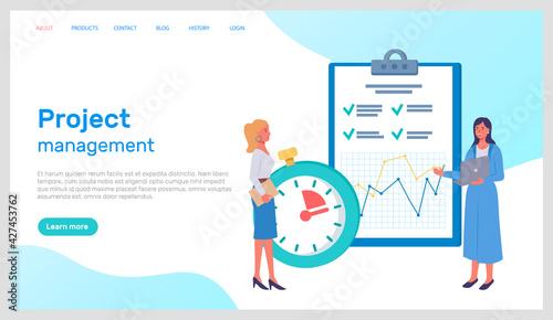 Fototapeta Project management office team planning concept. Business people for web banner infographics mobile obraz