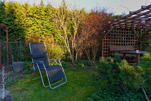 Papel de parede Black sunbed on the lawn in the spring garden