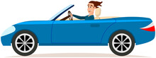 Two Door Cabriolet, Passenger Car With Handsome Driver. Happy Young Man Is Driving Blue Car