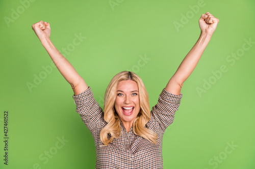 Photo portrait of blonde woman happy overjoyed gesturing like winner isolated br Poster Mural XXL