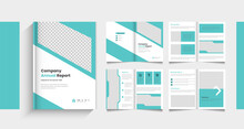 Pages Company Profile Brochure . Brochure Creative Design. Multipurpose Template With Cover, Back And . Trendy Minimalist Flat Geometric Design.  Or Company Annual Report