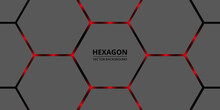 Hexagonal Abstract Background. Red Bright Light Flashes Under The Hexagon. Red Highlights Under The Gray Honeycomb Texture.