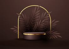 Minimal Black Scene With Geometric Shapes And Palm Leaves. Cylindrical Gold And Black Podium On A Brown Chocolate Background. 3D Stage For Displaying A Cosmetic Product