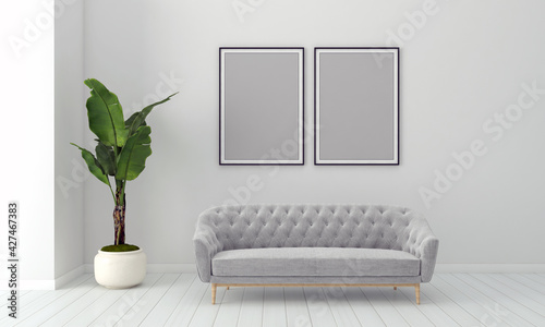 Fotografering Realistic Mockup 3D Rendered Interior of Modern Living Room with Sofa - Couch an