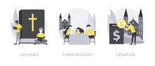 Church Gathering Abstract Concept Vector Illustrations.