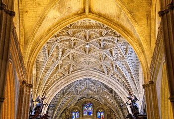 Interior of the Cathedral of Saint Mary of the See in Seville, Andalusia, Spain