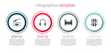 Set Winter Fishing, Headphones, Skate Park And Ski And Sticks. Business Infographic Template. Vector
