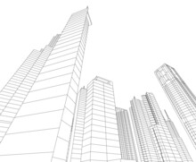 Abstract Buildings 3d Architectural Drawing
