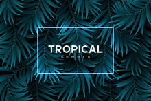 Exotic Tropical Background With Palm Leaves And Neon Blue Frame. Summer Jungle Design. Vector Illustration.