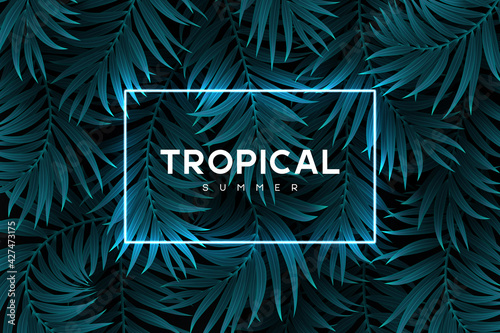 Fotografie, Obraz Exotic tropical background with palm leaves and neon blue frame