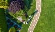 Leinwandbild Motiv Landscaping Job Grass Mowing Aerial