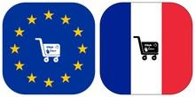Click & Collect, Achat En Ligne à Emporter, Drapeau Européen Et Français