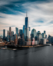 Aerial View Of The Skyline In New York City With One World Trade Center In Frame Seen From The Hoboken Station In New Jersey, USA.