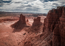 Aerial View Of The Stretch Of Uninhabited Land Outside The Goblin Valley State Park In The Southwest In Utah, USA
