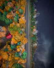 Vermont , USA - 13 October 2019 : Aerial View Of A Lonely House By The Colorful Trees During Season Of Fall In Vermont, USA
