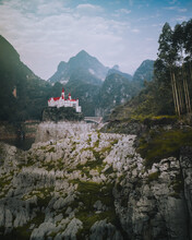 Aerial View Of Jilong Castle Country Club, A German Style Castle On The Lake In Guizhou, China.