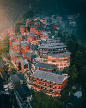 Aerial View Of Miao Village In Guizhou, China
