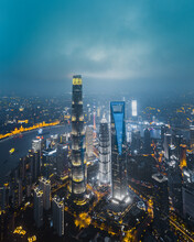 Aerial View Of Rainy Lujiazui Area At Night, Shanghai, China