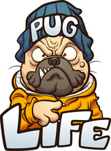 Cartoon Pug Dog With Angry Face Wearing A Beanie And The Text Pug Life. Vector Clip Art Illustration With Simple Gradients. Some Elements On Separate Layers.